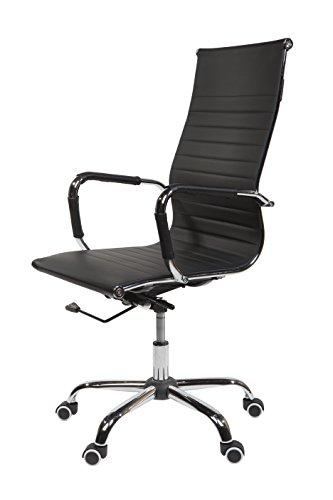 SVITA Design Bürostuhl Chrom Rahmen Elegance Chefsessel Drehstuhl Konferenz-Stuhl (Schwarz, Hohe...