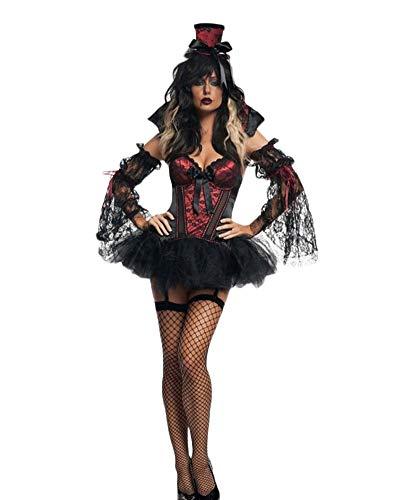 Donne Halloween Steampunk Bustier con Alto Basso Pizzo Gonna Costume