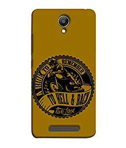 Redmi Note2 Back Cover A Ride To Remmber To Hell And Back Live Fast Design From FUSON