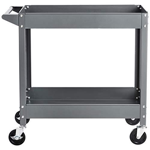 41Nqepimo4L - AmazonBasics - Carrito auxiliar multiusos de 2niveles de estilo bandeja alta, acero, 181kilogramos de capacidad, gris