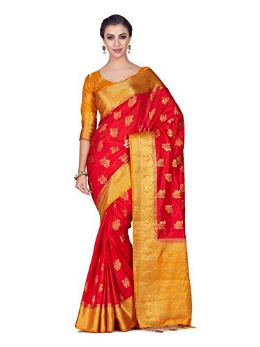 Mimosa Art silk Wedding saree Kanjivarm Pattu style With Contrast Blouse Color: Red (4296-358-2D-STRW-MST)
