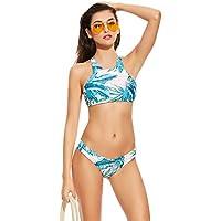Asvert Maillot de Bain 2 Pièces Bikini Sexy Motif Feuilles pour Femme, Bleu / Vert