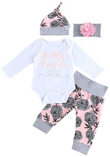 FUNOC Daddy's Princess Baby Girls Clothing Sets 4Pcs Long Sleeve Romper Pants Hat Headband Newborn Outfits Clothes Set