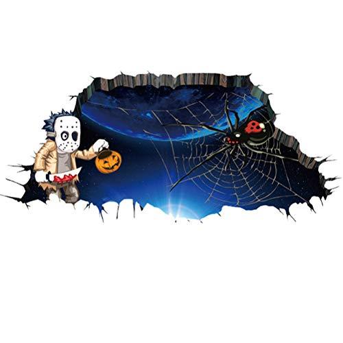 BESTOYARD Halloween-Wand-Aufkleber Scary Gruselige Halloween-Dekorationen Ghost Spider Aufkleber 34 * 75cm (Halloween Spider Tür-dekoration)