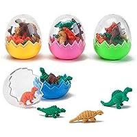 6 gomas de borrar de dinosaurio para juguetes, huevos, bolsas de fiesta, regalos, bonitos huevos de dinosaurio