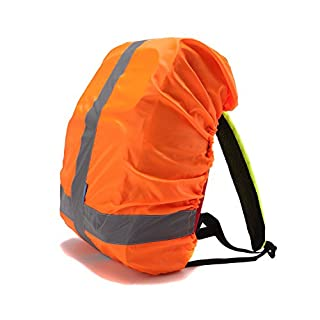 AYKRM Heavy Duty High Visibility Reflective Waterproof Rucksack Backpack Cover (Orange)