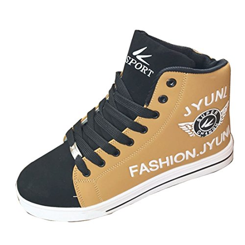 Men's Fashion High Top PU Leather Canvas Shoes brown