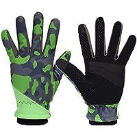 DEI QI Guantes de Dedo Completo Fitness al Aire Libre Cálido Deportes de Invierno Hombres y Mujeres Deslizamiento Senderismo Escalada (Color : Camouflage Green, Size : L)