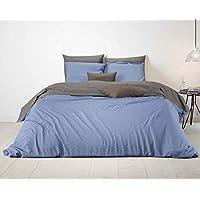 Aminata U2013 Bettwäsche 200x200 Cm + 2x Kissenbezüge 80x80 Cm Baumwolle +  Reißverschluss Blau U0026 Beige