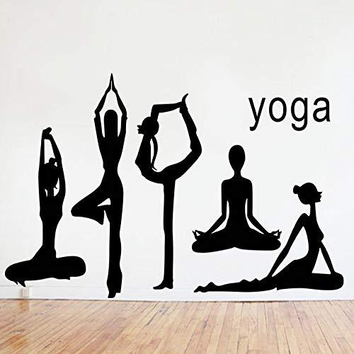 Neue persönlichkeit kreative yoga action wandaufkleber wohnzimmer yoga studio dekoration hintergrund aufkleber können entfernt werden schwarz 78 * 200 cm