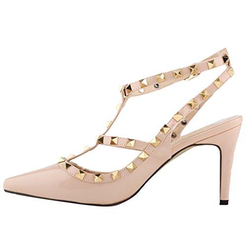 5c9df363 WanYang Verano Remache Mujer Estiletes De Moda Punta Estrecha Zapatos De Tacón  Altos Stiletto Fiesta Hebilla Cerrado Sandalias