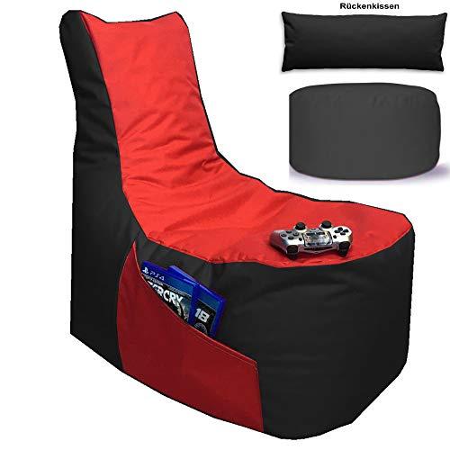 Sitzsack 3er Set Big Gamer Sessel mit EPS Sytropor Füllung - Rückenkissen - Hocker Sitzsäcke Sessel Kissen Sofa Sitzkissen Bodenkissen (Big Gamer Sitzsack 3er Set 2-farbig, Schwarz - Rot)
