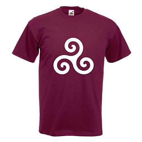 KIWISTAR - Triskele T-Shirt in 15 verschiedenen Farben - Herren Funshirt bedruckt Design Sprüche Spruch Motive Oberteil Baumwolle Print Größe S M L XL XXL Burgund