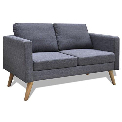 Festnight divano moderno in legno e tessuto grigio a 2/3 posti da soggiorno/salotto (grigio scuro, 2 posti)