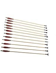 Longbowmaker 12 flèches en bois avce des plumes rougeset noires de turquie Tir à l'arc des flèches avec Hunting Broadheads WRBTH5