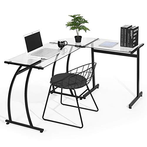 Bakaji scrivania angolare pc design moderno portacomputer ad angolo ufficio cameretta casa postazione lavoro superfice in vetro struttura in metallo (vetro trasparente)