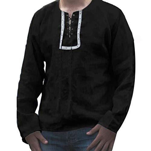 Camiseta de Deportes para Hombre Top,JiaMeng Baggy Algodón Estampado de Lino de...
