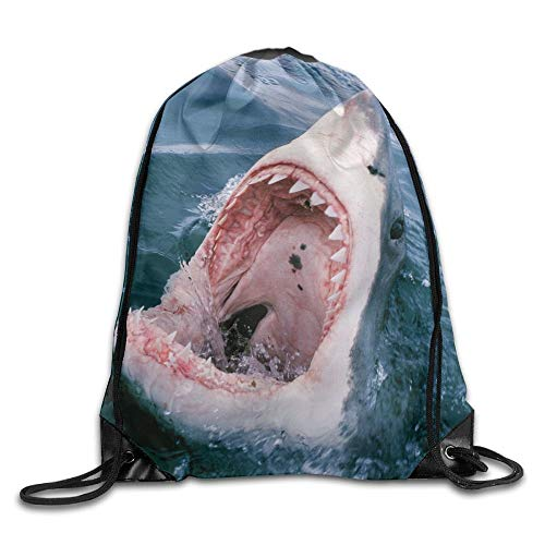 ucksäcke, Diving Monkey New Drawstring Backpack Workout Sackpack for Men Women School Travel Bag Great White Shark Bite Lightweight Unique 17x14 IN ()