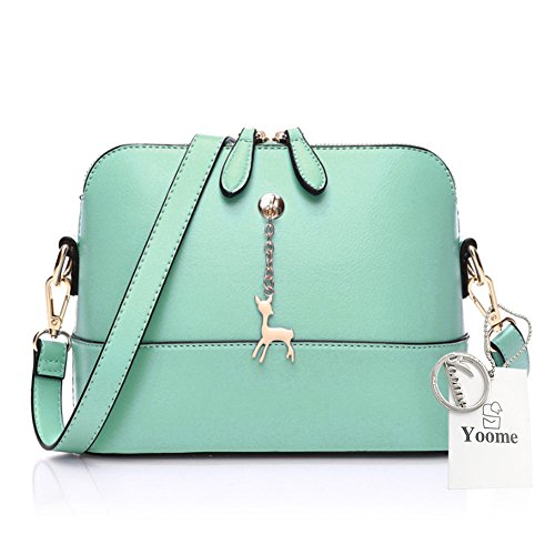 Yoome Cross Pattern Little Cervo Ciondolo Retro Trucco Sacchetto Borsa Medio Sacchetto Borsa in pelle - Navy verde
