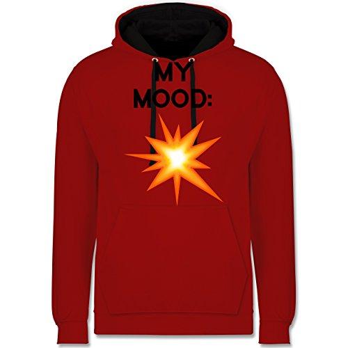 Statement Shirts - My Mood: Explosion - Kontrast Hoodie Rot/Schwarz