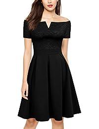 MIUSOL Damen Elegant Cocktailkleid Spitzen 3/4 Arm Vintage Kleid Brautjungfer 50er Jahr Abendkleid