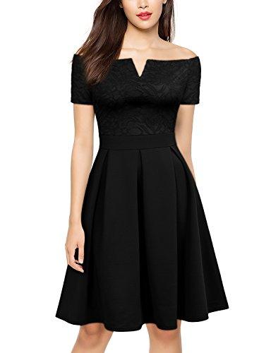 MIUSOL Damen Vintage 1950er Off Schulter Cocktailkleid Reißverschluss Rücken Retro Spitzen Schwingen Pinup Kleid Schwarz M (Eine Kleid Kleines Schulter Schwarzes)