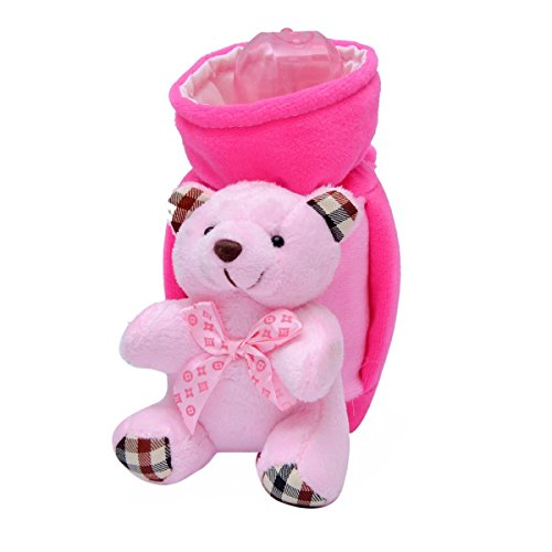 Guru Kripa Baby Products™ Present New Born Baby Fancy Cute Feeding Bottle Cover with Soft & Attractive Fancy Cartoon Bottle Cover and Stretchable Soft Velvet Nursing Smiley Teddy Plush Toy for child below Milk Bottle cover with Handel Trusted Brand High Quality (Pink, 240-250 ML)