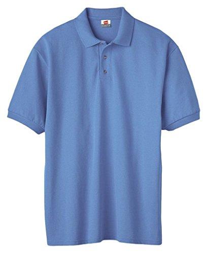 Hanes Herren Baumwolle Poly Welt Kragen und Manschetten Short Sleeve Pique Polo Shirt Carolina Blue