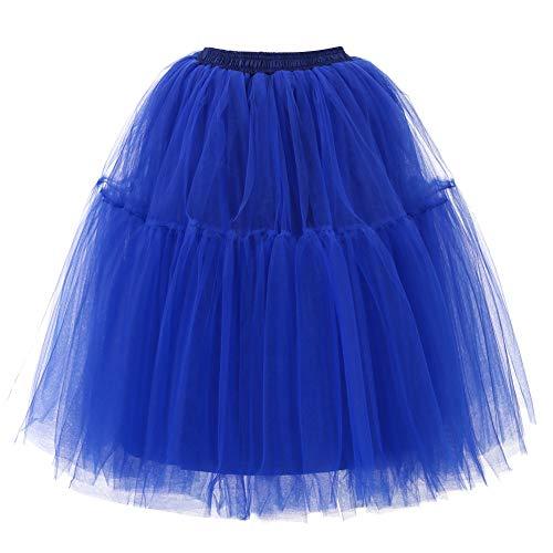 Andouy Damen Tutu Rock Midi Tüll Petticoat Vintage Mesh Layred Dance Organza Dress-up Prinzessin Größe (Nemo Kostüm T Shirt)