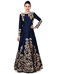 Ethnic Wings Women's Blue Taffeta Silk Fashionable Semi-Stitched Salwar Suits (ETWI_756_Blue_Free Size)