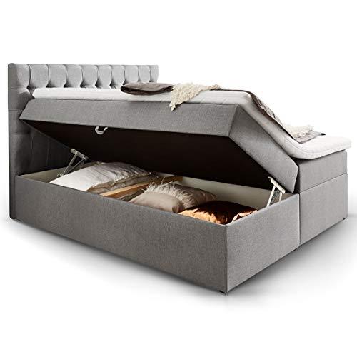 Moebella Boxspringbett mit Bettkasten H3 Webstoff Grau XXL Stauraum Chester Topper Taschenfederkernmatratze Knopfheftung (200 x 200 cm)