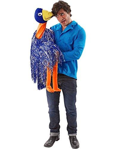 Erwachsener Bauchredner mit Handpuppe Blau Kostüm Fasching Karneval Verkleidung