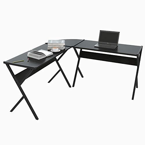 WOLTU® Schreibtisch TS62sz L-Form Eckschreibtisch Winkelschreibtisch Computertisch Bürotisch Arbeitstisch, aus Holz und Stahl, 150x150x73cm(BxTxH), Schwarz (Metall In L-form Schreibtisch)