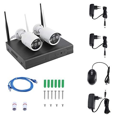 CHOULI Wireless Indoor Outdoor Surveillance HD Wetterfeste Überwachungskamera mit DVR EU-Stecker schwarz
