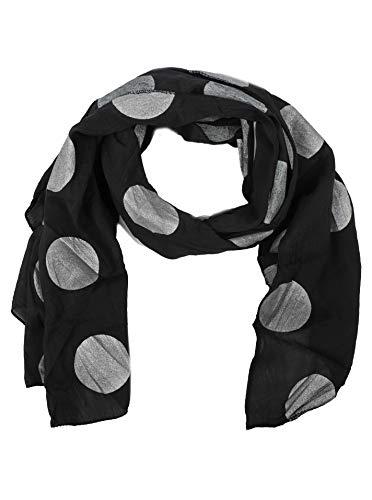 Zwillingsherz Seiden-Tuch mit Point-Print - Hochwertiger Schal für Damen Mädchen - Halstuch - Umschlagstuch - Loop - weicher Schlauchschal für Sommer Herbst und Winter von Cashmere Dreams schwarz -