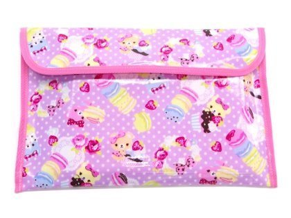Teddy bear and suites organized contact smart bag polka dots (lilac) made in Japan N4021000 (japan import)