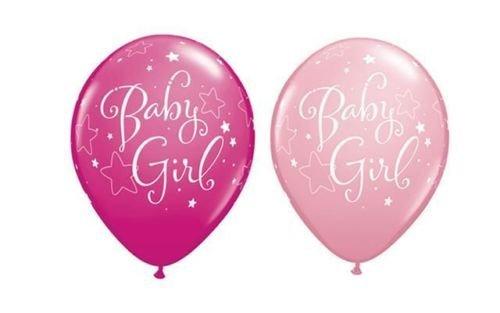 Neuf Bébé Fille étoiles Rose Et Sauvage Baie rose Qualatex 27.9cm Latex Ballons x 10