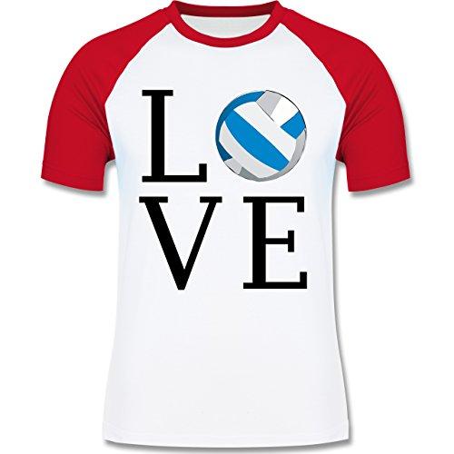 Volleyball - Love Volleyball - zweifarbiges Baseballshirt für Männer Weiß/Rot