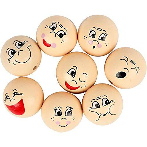 YooKreativ 16 Stück Gesicht Holzperlen, Ø 30 mm. mit halbgebohrtem Loch, Set mit 8 verschiedenen lustigen Gesichtern zu je 2 Stck.