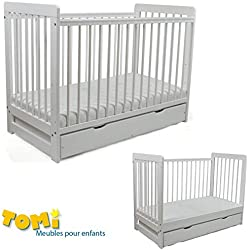 Lit pour Bébé à barreaux évolutif TOMI 21 - Avec MATELAS et drap, Blanc - Version AVEC tiroir.