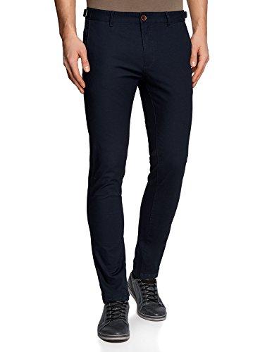 oodji Ultra Hombre Pantalones Chinos de Algodón con Anchura Regulable de la Cintura, Azul, ES 44 (L)