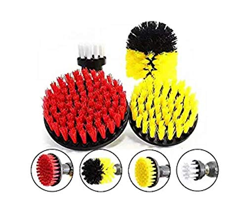 enzhe WSZMD 4 Pcs Scrub Brush Drill Attachment Kit Drill Brush Set Electric Drill Cleaning Brush Power Scrubber Drillbrush Tub Power Scrubber Cleaner Tool 2/3.5/4/5 Inch (Pc Build-tool-kit)