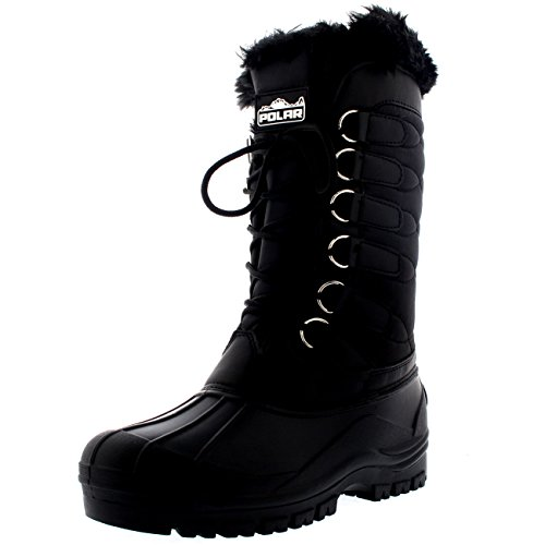 Womens Nylon Waterproof Weather Outdoor Snow Duck Winter Rain Cuff Lace Boot...