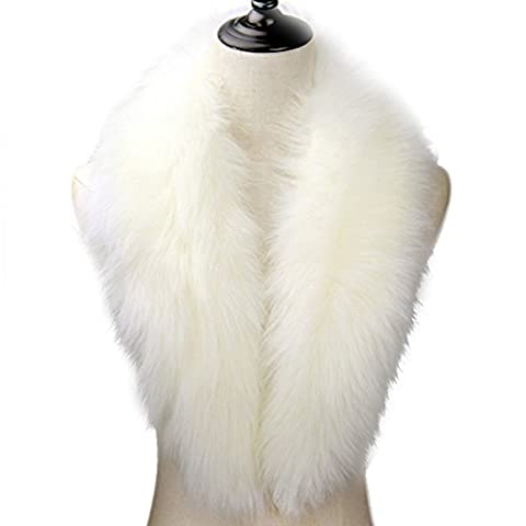 Cinoyoni Extra Large Women's Faux Fur Collar for Winter Coat (Small, White)