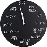 Anytime 37-2H-113 Horloge murale ronde Equations mathématiques Noir et blanc MDF D30 x 2 cm