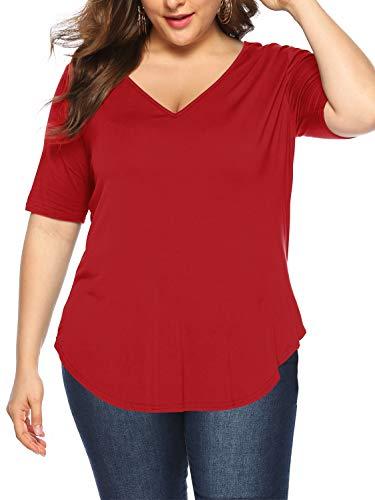 Beluring Plus Size Damen T Shirt Kurzarm Solide Casual Sommer T-Shirt Oberteil Tops Rot 3XL (Tops Größe Blusen Und Plus)