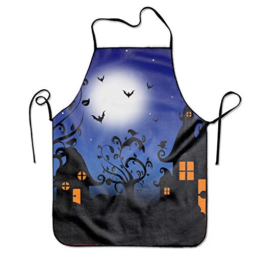 best pillow Holiday Halloween House Tree Bat Silhouette Cooking Apron Kitchen Apron, Lock Edge Waterproof Durable String Adjustable Easy Care Aprons for Women Men Chef - Kit Tea Tree