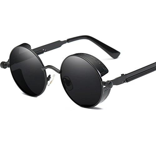 LANOMI Retro Sonnenbrille Rund Vintage Steampunk Metallrahmen Damen Herren Verspiegelt Brillen UV400 (Schwarz Rahmen mit schwarzen Linsen)