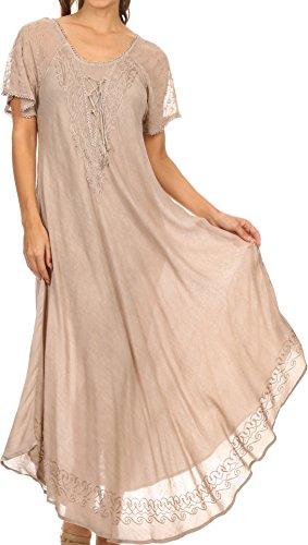 Gesticktes Langes Kleid (Sakkas 16603 - Egan Lange gestickte Kaftan Kleid / Abdeckung mit gestickten Kappen Ärmeln - Beige - OS)