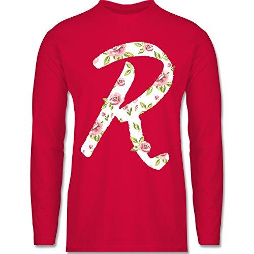 Shirtracer Anfangsbuchstaben - R Rosen - Herren Langarmshirt Rot